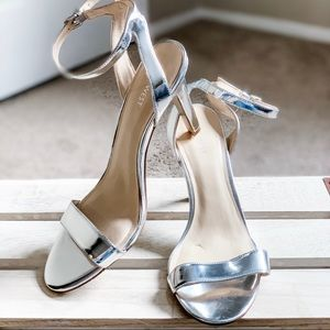 Silver Nine West Strappy Heels
